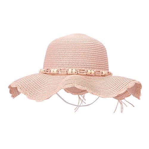 (MK MATT KEELY Women Sun Hat Ladies Wide Birm Beach Shade Straw Hat Outdoor Beaded Bowknot Visors Pink)
