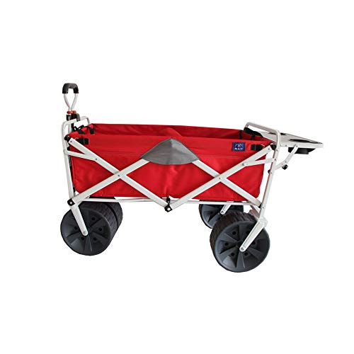 Mac Sports Folding Heavy Duty All Terrain Beach Wagon with Side Table, Red Grey