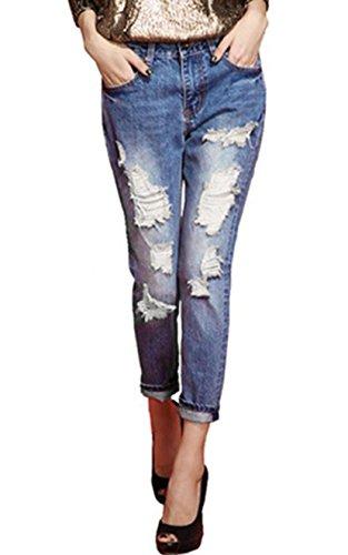 Lantomall Women Girl's Hole Denim Jeans Loose Capri Pants Trousers