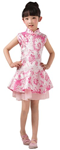 Soojun Kids Girls Chinese Qipao Floral Cheongsam Princess Party Dresses, 1 Pink, 5-6 Years