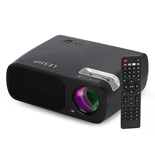 Beamer, LESHP HD Portble 3200 Lumen Projektor, LED LCD USB Heimkino Videoprojektor 800x480 Native Auflösung Unterstützt 1080P TV AV HDMI VGA 3200 lumens für zu Hause, Präsentation, Unterwegs Konferenzrunde Party Unterhaltung