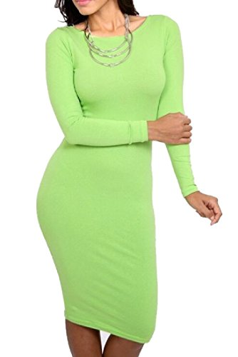 Long Comfy Pencil Womens Dress Green Light Sleeve Dress Neck Solid Crew XrFSrqw