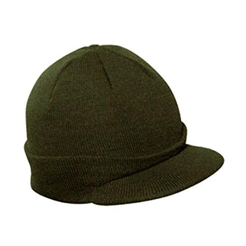 Acrylic Short Beanie (Vintage Year Plain Short Billed Knit Radar With Cuff Beanie (Olive Green))