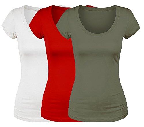 Olive Value (Emmalise Women's Short Sleeve Tshirt Scoop Neck Tee Value Set (3Pk, Wht, Olive, Red, 3XL))