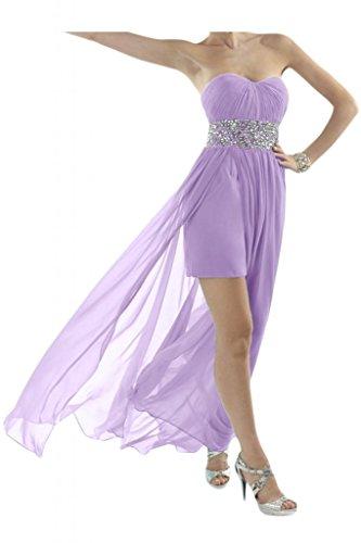 Toscana novia Chic en forma de corazón de cristal Hi-Lo por la noche vestido gasa largo vestidos de fiesta en vestidos de cóctel morado