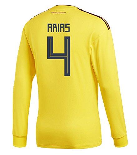ムス大破冷蔵するadidas Mens ARIAS #4 Colombia Home Long Sleeve Soccer Jersey World Cup 2018 /サッカー ユニフォーム アリアス 背番号 4 コロンビア ホーム用 長袖