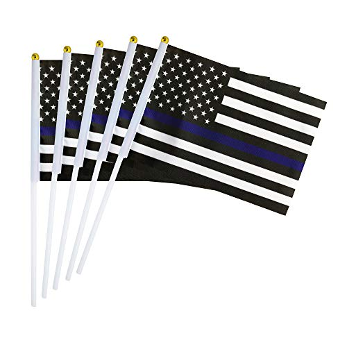 Cheap Kind Girl 50 Pack Thin Blue Line USA American Police Flag,Hand Held Honoring Law Enforcement Officers Flag Police Flag Policeman Flag Small Mini Flag on Stick,Police Theme Party Event Decorations