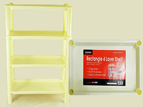 4 Tier Rectangle Storage Rack 3 Colors Size: 18''x11.25''x27''H , Case of 12 by DollarItemDirect