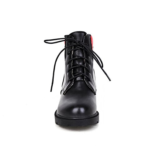 Black Womens Heel Imitated Heighten Boots Thick Color Leather Matching Bottom BalaMasa Inside Pgdqwg7