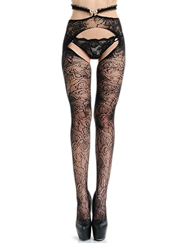 Vivilover Womens Fishnet Thigh-High Stockings Tights Suspender Pantyhose Stretchy Stockings Black (Style 0) -