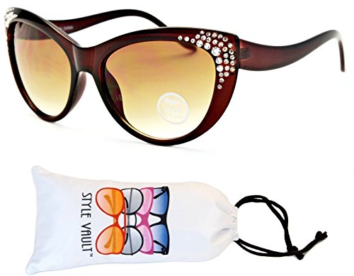 Wm508-vp Style Vault Cateye Sunglasses (R3004P Crystal Brown-Brown, uv400) (Fifties Cat Eye Rhinestone Glasses)