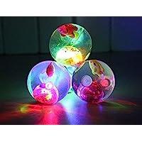 FAVELA® Led Flashing Luminous Ball Rubber Bouncing Ball Anti-Stress Light LED Anti Stress Gift Fun Toys for Children(Pack of 3)