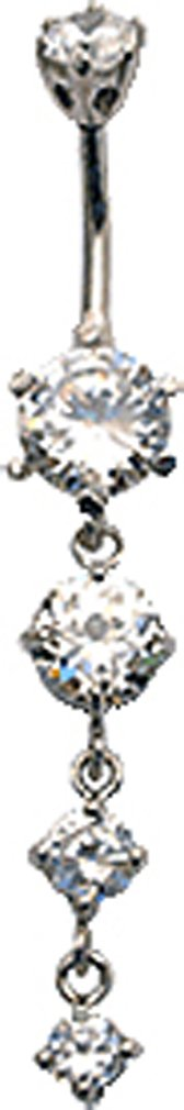 Silver 3 drop dangly round belly button ring with CZ Clear crystal - packed in a lovely velvet pouch