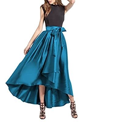 CoutureBridal Womens High Low Long Skirt Pleated High Waist Prom Party with Pockets Bow