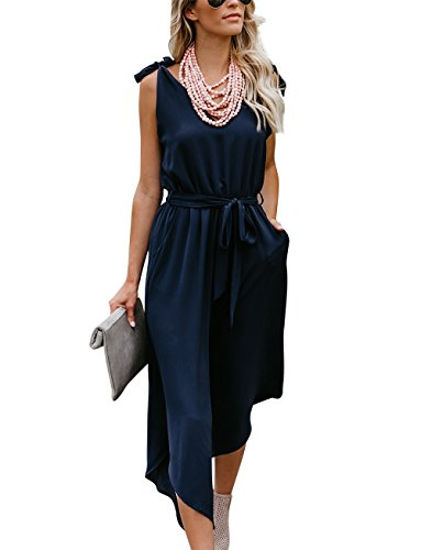BELONGSCI Women Outfit Sleeveless Shoulder Bandage Waistband Sexy V-Neck Wide Leg Long Jumpsuit with Belt Navy