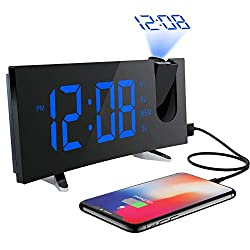 PICTEK  Projection Alarm Clock FM 5-Inch Dimmable Screen Ceiling Display, Kids Radio with Dual Snooze Function, Digital Alarm Clock Projector for Bedroom