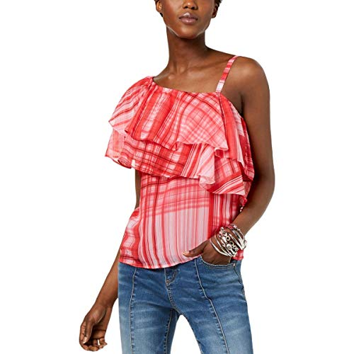 INC Womens Ruffled Plaid Pullover Top Red L