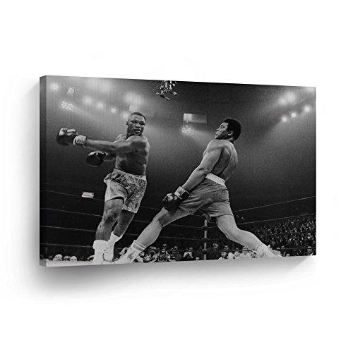 Muhammad Ali vs. Joe Frazier's Punch - CANVAS PRINT Decorative Art Wall Decor Wrapped Artwork Wood Stretcher Bars - Ready to Hang -%100 Handmade in the USA - ALIH36_C