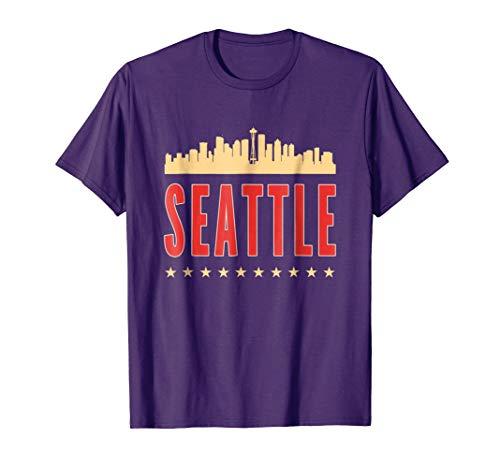Mens Seattle Skyline Men Women T shirt souvenir Large Purple -