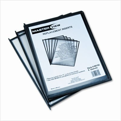 Martin Yale MVS6 Master Replacement Sleeves (6 Sleeves) For Use With MVMD24/MVMD12 MasterView Desktop Stands and MVW12 MasterView Wall Mount System, Glare-Free Sleeves Holds 8 1/2