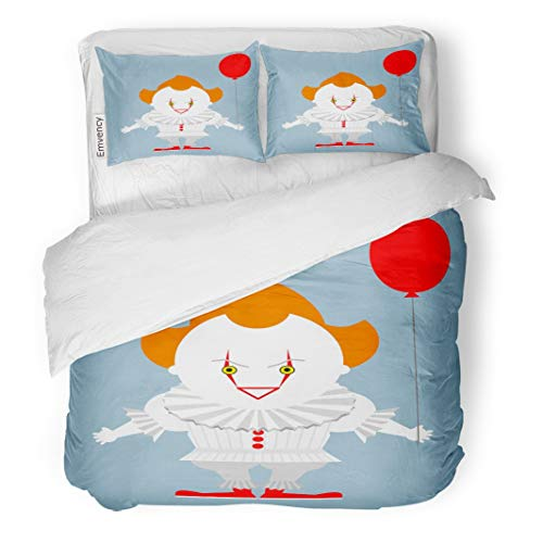 Tarolo Bedding Duvet Cover Set Pennywise Angry Evil Red Haired Clown Balloon King Stephen Crazy Creepy 3 Piece Twin 68