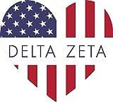 Delta Zeta American Flag Greek Heart Shaped Decal