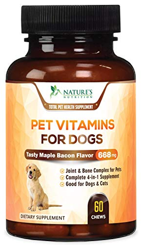 Multivitamin for Dogs - Advanced All-in-One Dog Soft Chew Supplement, Skin & Coat Health, Joint Support, Digestive Aid, Vitamins A, B1, B12, C, E, and Minerals - Tasty Maple Bacon Flavor - 60 Chews