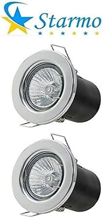 2 x Starmo Chrome Fire Rated GU10 Mains Recessed Ceiling Light Spotlight Downlight