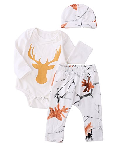 3pcs Newborn Infant Baby Kids Boy Girl Deer Romper+Pant+Hat Outfit Set Clothes (12-18 Months, White) ()