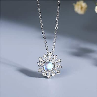 HWADMW Collar de Piedra Lunar Natural de Plata esterlina S925 de Cuerpo Completo Hembra Cristal Transparente Azul Claro de Luna Cadena de clavícula Variedad de Mujer