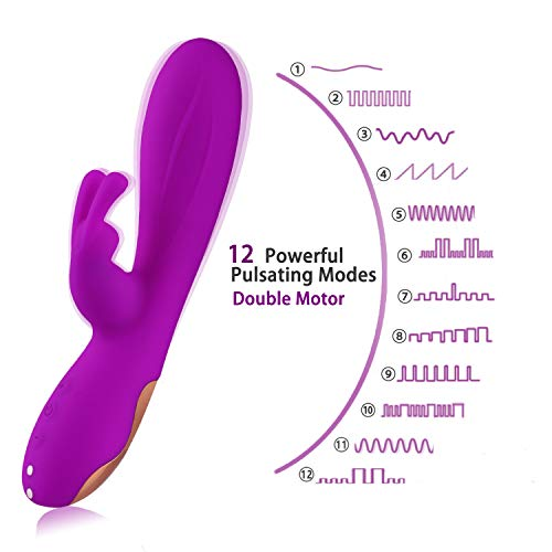 Wand Massager with 12 Vibrating Patterns, Personal Full Body Massager, Silicone Therapy Massager Cordless for Muscle Aches and Sports Recovery (Purple)