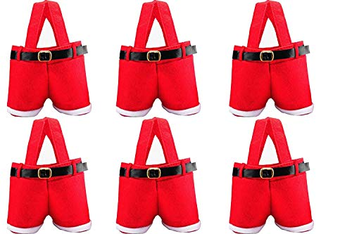 HOSL 6 Pack Christmas Presents Basket Christmas Candy Bags Christmas Gift Bags Portable Santa Apple Gift Bag Wedding Candy Tote Bag Christmas Santa Pants Gift Romper Wine Bag Box For Party Home Decor