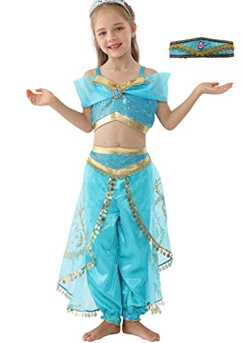 Dressy Daisy Girls Princess Jasmine Dress Up with Headband Costumes Halloween Party Fancy Dress Size 6 -