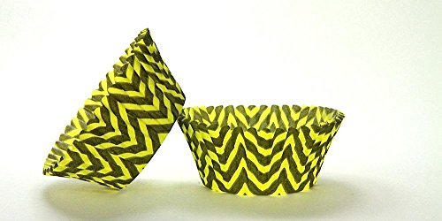 50pc Chevron Design - Black / Yellow Standard Size Cupcake Baking Cups Liners Wrappers