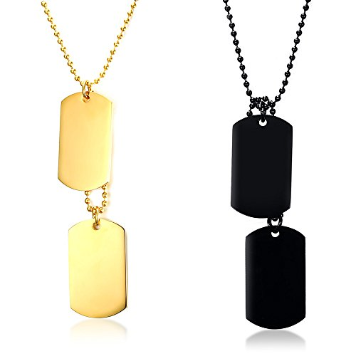 YIKOXI White Black Silver Hue 2PCS Stainless Steel Pendant Necklace Army Name Double Dog Tag,Gold -