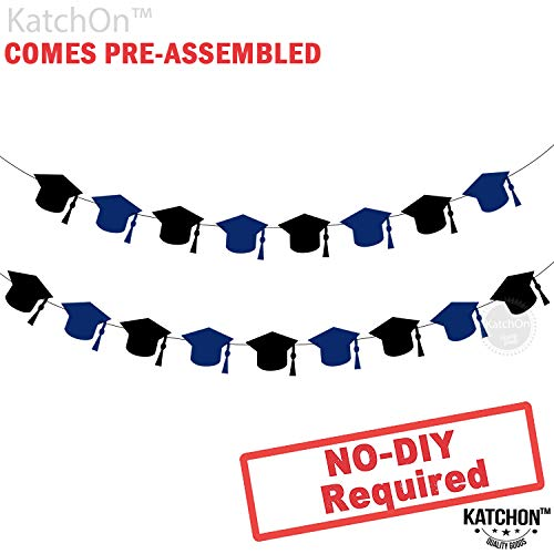 Graduation Garland for Grad Party - Assembled - Black and Blue Graduation Party Supplies - Graduation Hat Decorations for Graduation Party Supplies 2019 - Cute and Unique for Table, Mantle, No DIY ()