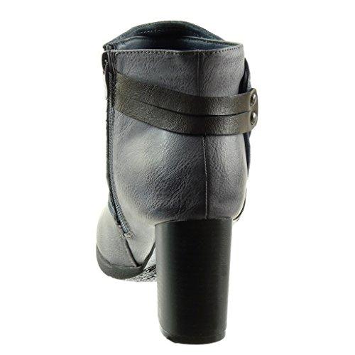 fibbia cavalier Stivaletti di a 5 Blu alto soletta donna Moda Pelliccia Angkorly borchiati Scarponcini CM Foderato 7 classic tanga Scarpe tacco da Tacco blocco biker xqvOAXt