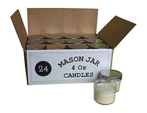 Set of 24 Bulk Wholesale Mini Mason Jar Candles - 4 Ounce - Perfect for Weddings, Restaurants, Gifts, Baby Showers -