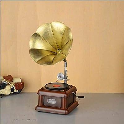 YL-adorn art Estatua Sculpture Figurine Vintage De Metal Gramófono ...