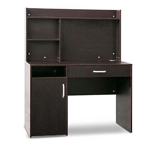 Merax Home Office Computer Desk with Hutch and Bookshelves (Dark Brown) by Merax