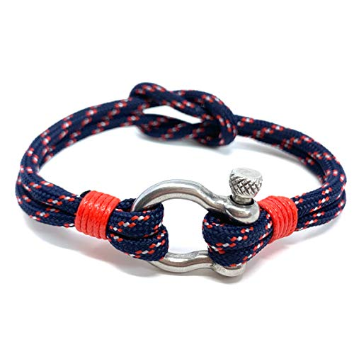 Anchor Shackle Bracelet [Men] Thick Nylon Rope (Adjustable Knot) & Stainless Steel Mens Bracelets with Anchor Shackle Clasp [Navy Blue]