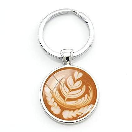 Café Latte Tallado Amor Corazón Arte Llavero Llavero ...