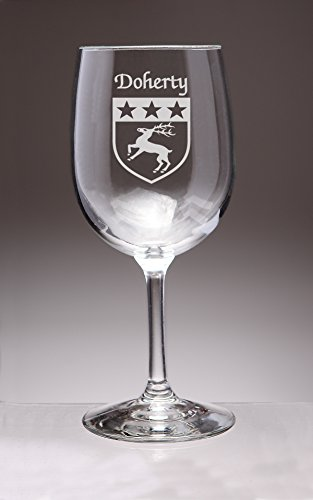 Doherty Irish Coat of Arms Wine Glasses - Set of 4 (Sand Etched)