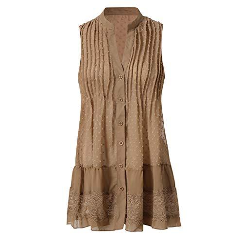 WILLBE Womens Polka Dot V Neck Dress Button Down Ruffles Casual Loose Swing Short Mini T-Shirt Dress Sleeveless Dresses Khaki