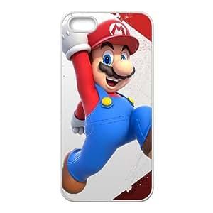 Funda iPhone 5 5s 5SE caso del teléfono celular Funda blanca Mario D1I5UF