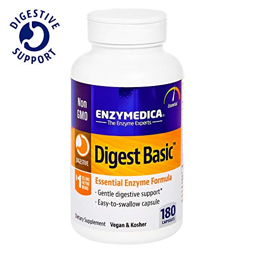 Enzymedica, Digest Basic, Dietary Supplement to Support Digestive Relief, Vegan, Gluten Free, Non-GMO, 180 Capsules (180 Servings) (FFP)