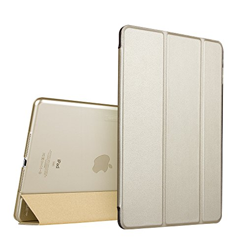 ESR Yippee Smart Case for The iPad Air 2, Smart Case Cover [Synthetic Leather] Translucent Frosted Back Magnetic Cover with Auto Sleep/Wake Function [Light Weight] (Champagne) (Best Slim Case For Ipad Air 2)