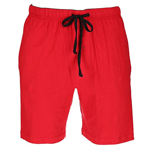Hanes Men's Jersey Knit Cotton Button Fly Pajama Sleep Shorts, Medium, Red