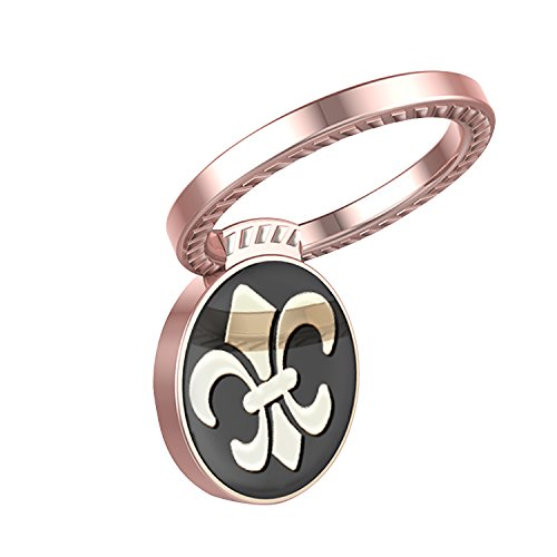 Phone Ring Finger Holder Buckle 360 degrees Rotary Metal For cellphone smartphone, Scout flower, Rose Gold