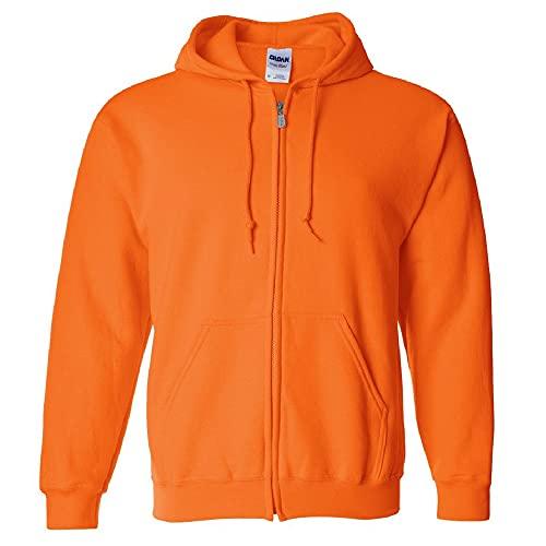 Image of Gildan Men's Fleece Zip Hooded Sweatshirt, Style G18600, Safety Orange,